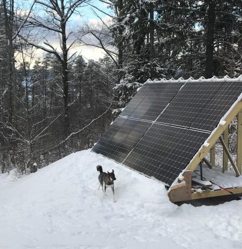 Snow on solar panels New York